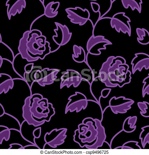 Black seamless background with roses - csp9496725