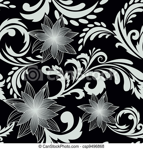 black seamless background with flowers - csp9496868