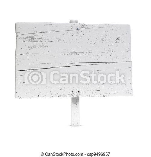 blank wooden sign painted using white color, large size, white background with nails - csp9496957