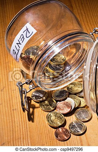 jar with coins. inscription retirement / pension - csp9497296