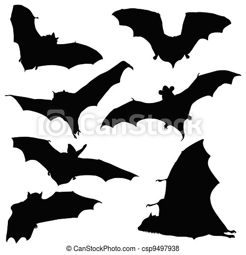 bat black silhouette illustration - csp9497938