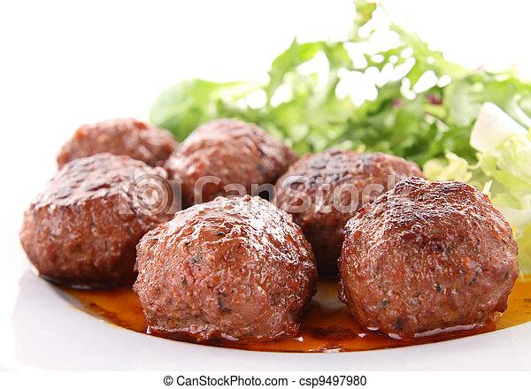 meatballs and sauce - csp9497980