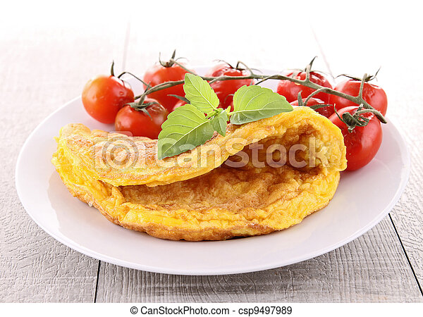 omelette and cherry tomato - csp9497989