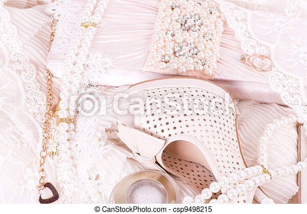 bridal shoes, lace, bag and beads - csp9498215