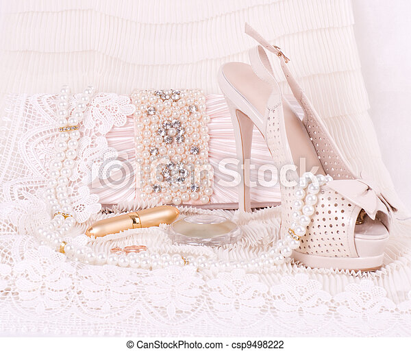 bridal shoes, bag and beads - csp9498222