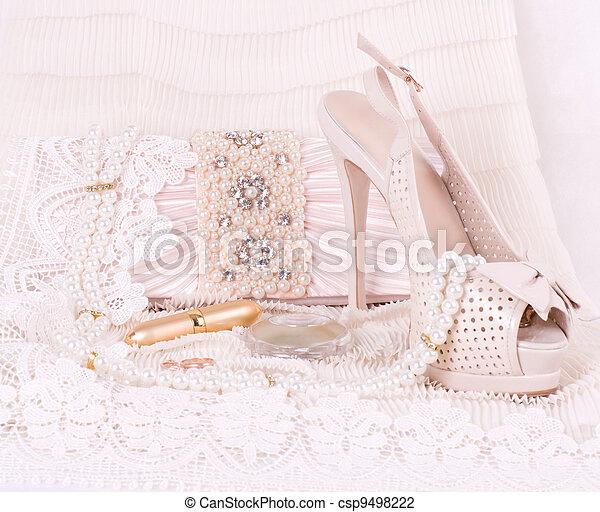 bridal shoes, bag and beads - csp9498222
