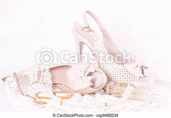 bridal shoes, lace and beads - csp9498234