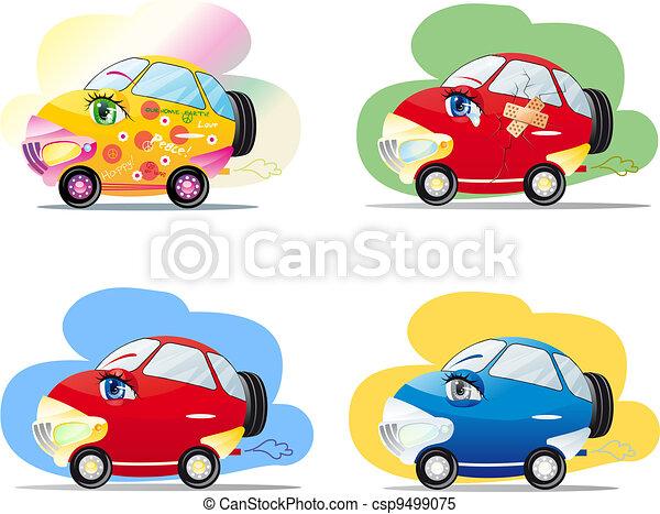 vecteur clipart de dessin anim voitures rigolote color voitures yeux csp9499075. Black Bedroom Furniture Sets. Home Design Ideas