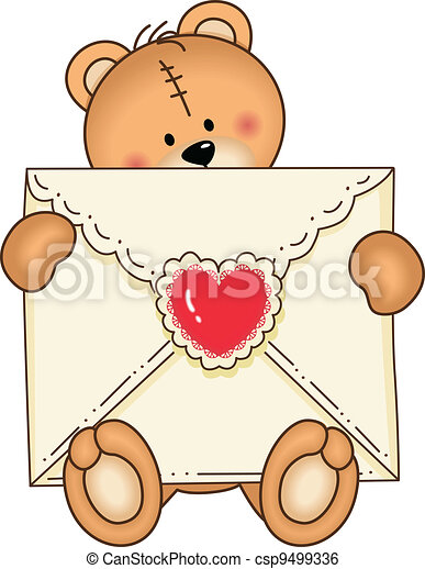 Bear Secure Envelope Heart - csp9499336