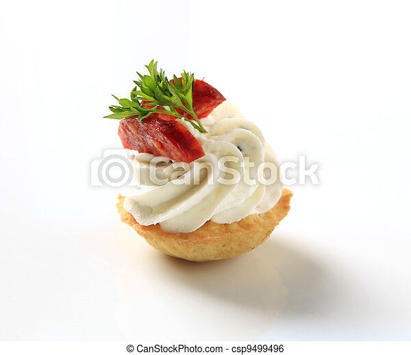 Stock image of canape pastry crust filled with savory for Pastry canape fillings