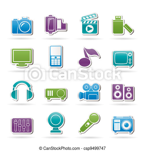 multimedia and technology icons - csp9499747