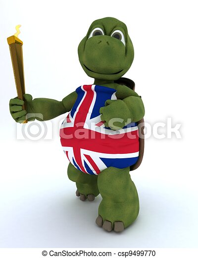 tortoise running with othe olympic torch - csp9499770