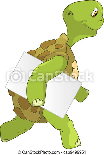 Funny Turtle. Courier. - csp9499951