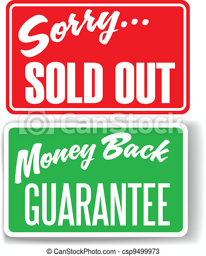 Money Back Guarantee Sorry Sold Out store signs - csp9499973