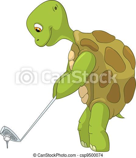 Vecteur eps de rigolote tortue golf joueur dessin - Image tortue rigolote ...