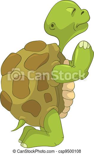 Funny Turtle. Pray. - csp9500108