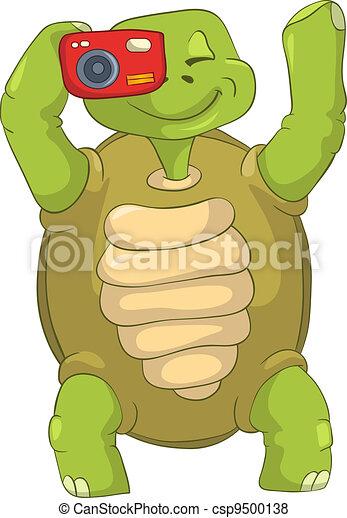 Funny Turtle. Tourist - Photographer. - csp9500138