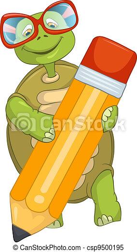 Funny Turtle. Writing. - csp9500195