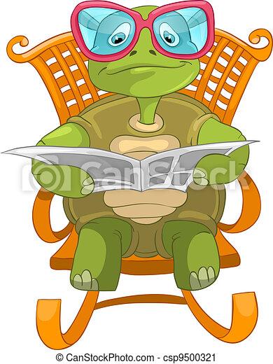 Clip art vecteur de rigolote tortue lecture dessin - Image tortue rigolote ...