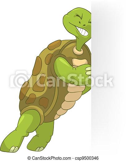 Clip art vecteur de rigolote tortue pousser dessin - Image tortue rigolote ...