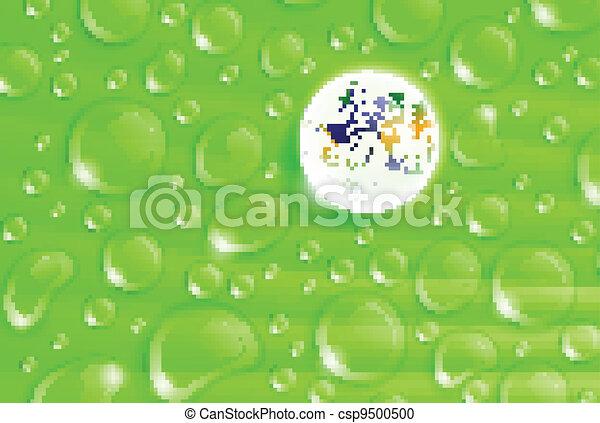 planet Earth inside a dew drop on a green leaf - csp9500500