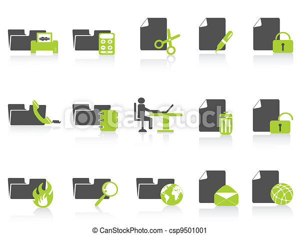 folder and document icons green series - csp9501001