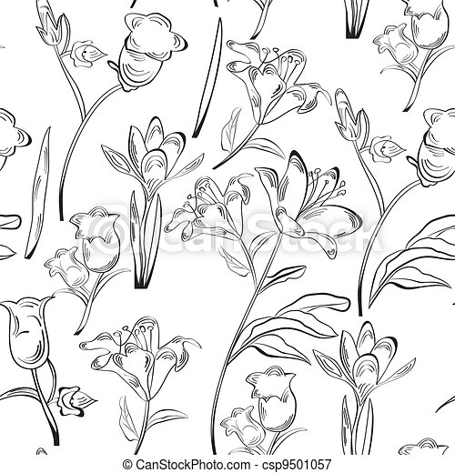 Monochrome seamless wallpaper - csp9501057