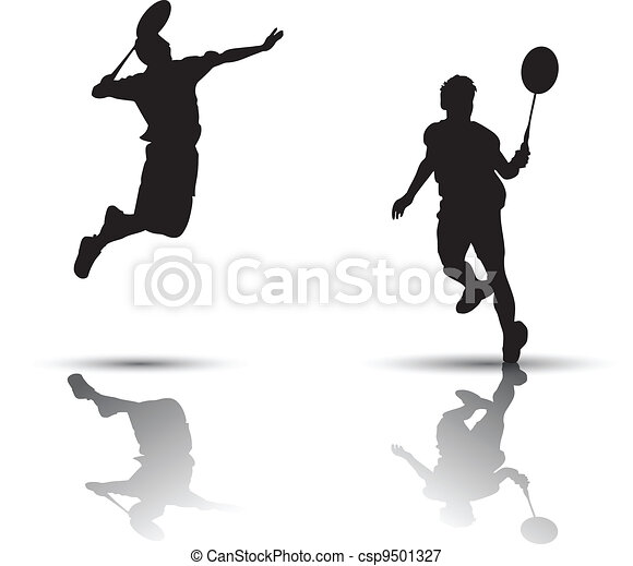 Badminton players silhouette - csp9501327