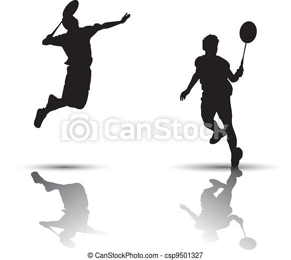 Badminton players silhouette - csp9501327