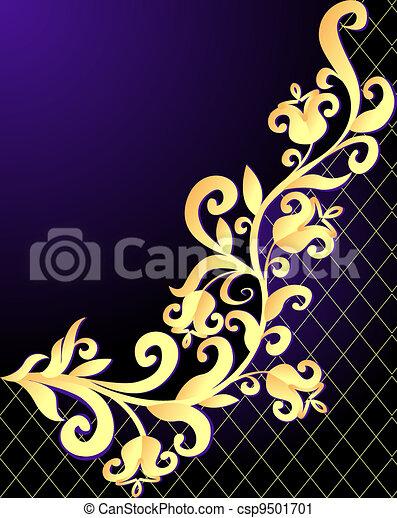 illustration violet background frame with vegetable gold(en) pattern and net - csp9501701
