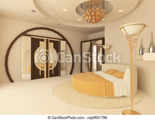 Illustration De Rond Lit Luxueux Chambre Coucher Suspendu Plafond Csp9501796 Recherchez