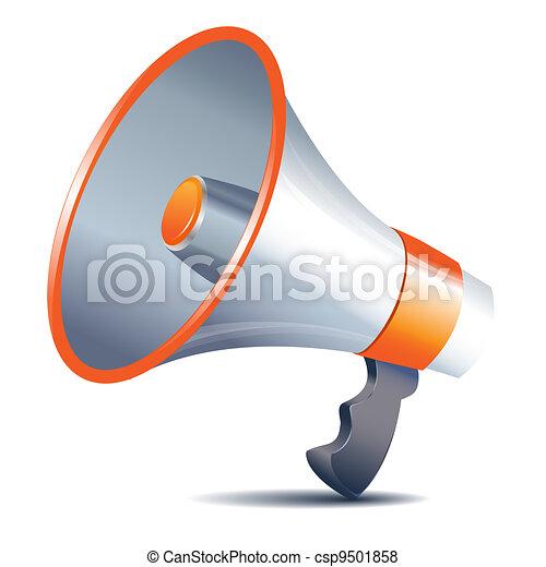 megaphone loudspeaker on white background - csp9501858