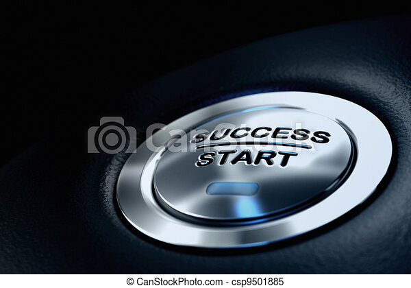abstract success start button, metal material, blue color and black textured background. Focus on the main word and blur effect. Business concept  - csp9501885