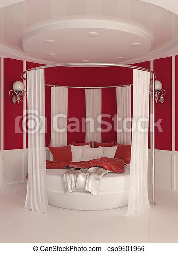 stock illustration von runder bett mit vorhang in modern inneneinrichtung csp9501956. Black Bedroom Furniture Sets. Home Design Ideas