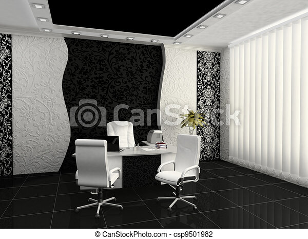 Workplace in modern office interior - csp9501982