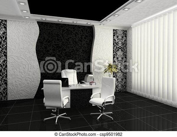 Workplace in modern office interior - csp9501982