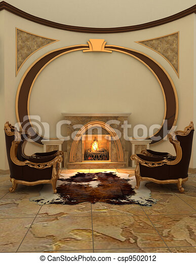 Armchairs near fireplace in modern interior. Warm - csp9502012
