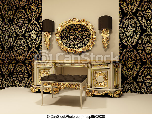 stock illustration von tapete verzierung hintergrund spiegel tisch barock csp9502030. Black Bedroom Furniture Sets. Home Design Ideas