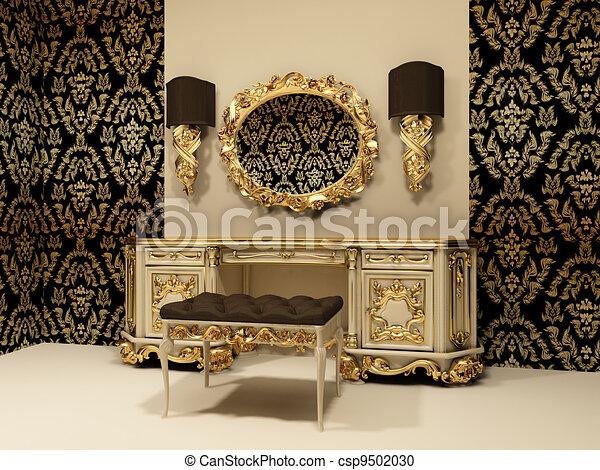 stock illustration von tapete verzierung hintergrund spiegel tisch barock csp9502030. Black Bedroom Furniture Sets. Home Design Ideas