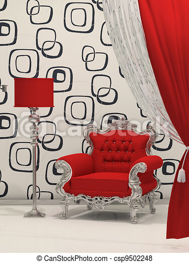 Luxury armchair with standard lamp isolated on abstract wallpaper - csp9502248