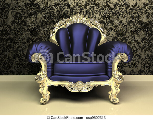 Modern Baroque armchair with decorative frame in luxury interior - csp9502313