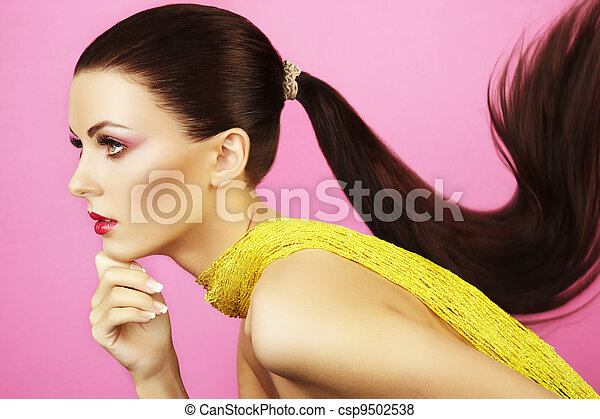 Fashion photo of  beautiful woman with  ponytail - csp9502538