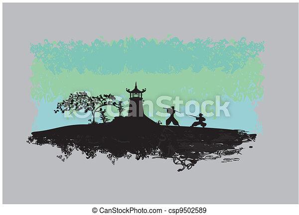 Samurai silhouette in Asian - csp9502589