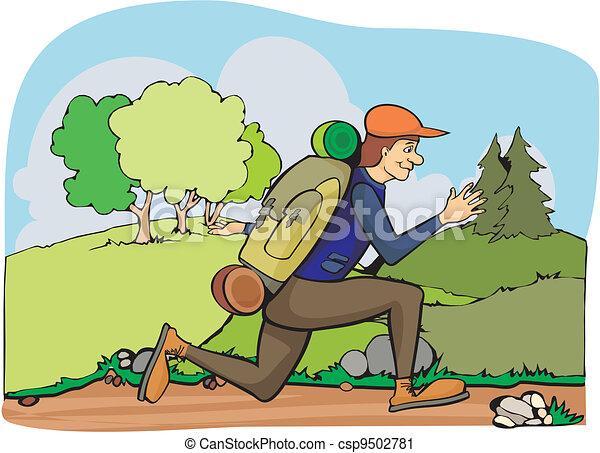 running tourist - summertime  - csp9502781
