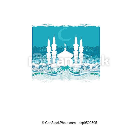 mosque silhouette vector card - csp9502805