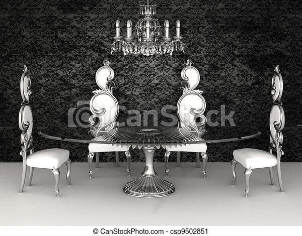 Clipart de baroque meubles chaises rond table dans for Table 3d dessin