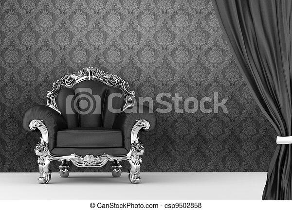 illustration de ouvert rideau baroque fauteuil papier. Black Bedroom Furniture Sets. Home Design Ideas