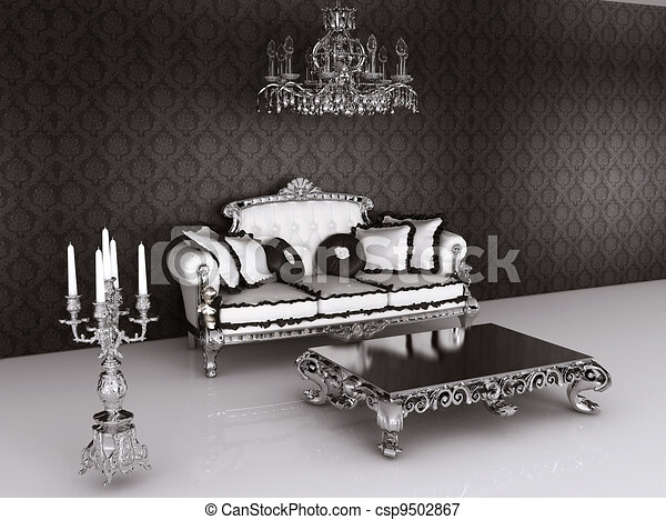 illustration royal meubles baroque int rieur sofa oreillers table cand labre banque d. Black Bedroom Furniture Sets. Home Design Ideas