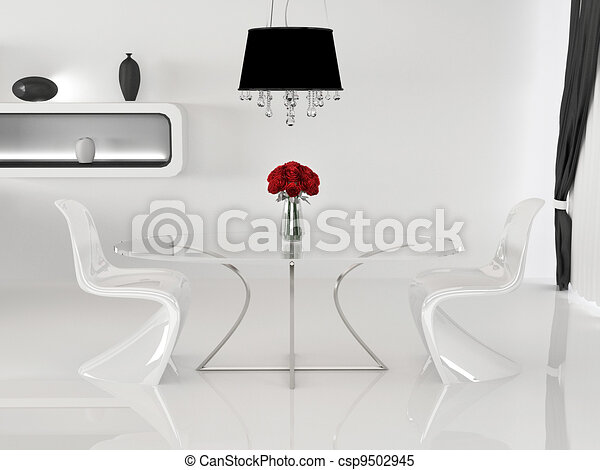 Two chairs and table with vase in minimalism interior. Space. Curve Furniture - csp9502945