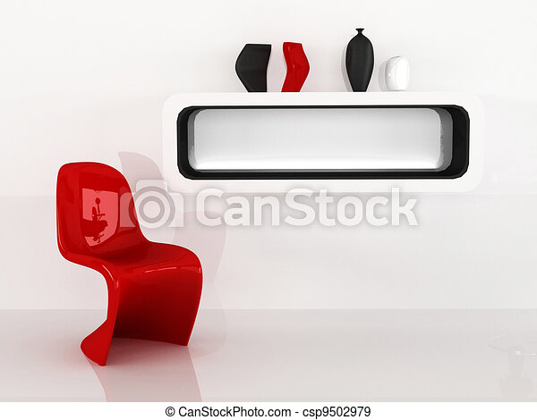 Chair and shelf with vases in minimalism interior. Red Black White - csp9502979